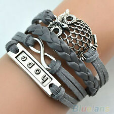 Multilayer Infinity Mesh Owl Charm Handmade Leather Bracelet Cuff Bangle Chain