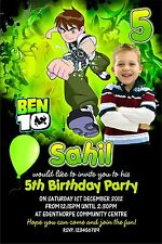 Personalised Birthday Invitations Ben 10 x 5