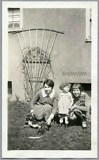 #419 Posing With the Boston Terrier Dog, Women, Girl, Vintage Photo
