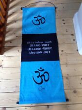 LARGE OM AFFIRMATION SCROLL WALL HANGING, FAIR TRADE, MEDITATION, ETHNIC