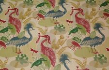 "RICHLOOM MANGROVE PARADISE BLUE FROG TROPICAL BIRD LINEN FABRIC BY THE YARD 54""W"