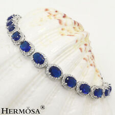 75% OFF Royal Blue Sapphire Classy Hermosa Gemstone Sterling Silver Bracelet 7""