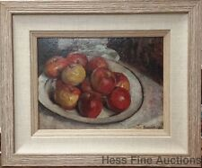 Nicolae Vermont Romanian Hungarian Oil on Board Still Life Apple Fruit Painting