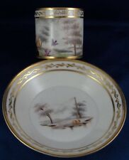 Antique Old Paris French Porcelain Cheating Bird Scene Cup & Saucer Vieux de