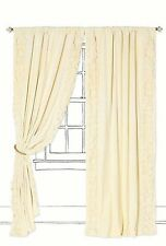 Anthropologie Creme Cotton Velvet Parlor Puckered Button Curtain Panel (1) Only
