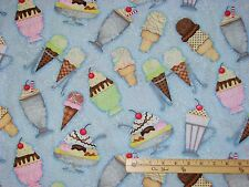 What' the Scoop Ice Cream Cone Sundae Blue Floral Fabric  by the 1/2 Yard #23992
