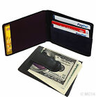 BLACK 100% LEATHER BIFOLD MONEY CLIP Credit Wallet Holder Metal ID Badge THIN