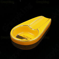 COHIBA Classic Yellow Ceramic Antislip Pocket Cigar Cigarette Ashtray