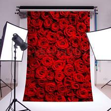 5x7FT Vinyl Red Rose Backdrop Studio Photography Valentine's Day Background Prop