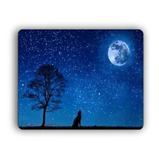 Wolf Howling at the Moon Computer Mouse Pad For Desktops and Laptops