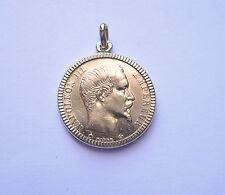 Pendentif porte-pièce lapidé en or avec 20 Francs Napoléon tête non laurée