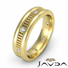 Diamond Mens Eternity Wedding Solid Band Bezel Step Cut 14k Yellow Gold 0.16Ct