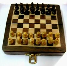 Wooden Magnet Chess Set Chessman India with 5'' magnetic folding board portable