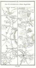 Antique map, Roads from Clonmell to Birr (2), Birr to Burris-a-Kane