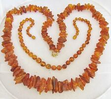 "2 Vintage Natural Honey Amber Graduated Bead Necklaces  (34"" & 18"" Long)"