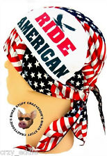 RIDE AMERICAN SKULLCAP HEAD WRAP **MADE IN THE USA** BUILT IN SWEAT BAND