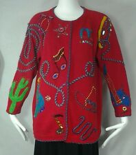 VTG MICHAEL SIMON Western Sweater Music Cowboy Rockabilly Rodeo Beaded Sz L-XL