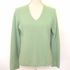 Sutton Studio 2 Ply Cashmere Cable V-Neck Sweater M Green