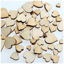 50pcs WOODEN MINI MIXED WOOD POKER HEART WEDDINGS CRAFT CARD MAKING SCRAPBOOK