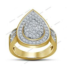 Pear Shape Cluster Engagement Ring Round Simulated Diamond Yellow Gold Plated