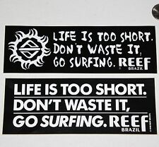 REEF BRAZIL BUMPER STICKER 2 SURF 90' Surfboard DECAL Surfing Vintage Art poster