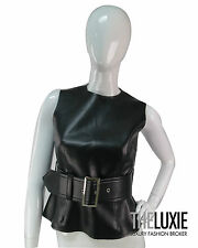 COMME DE GARCON S LEATHER VEGAN BELTED WIDE PEPLUM CHIC CHIC TOP AMAZING!