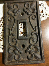 5 Fleur de Lis cast iron switch plate covers