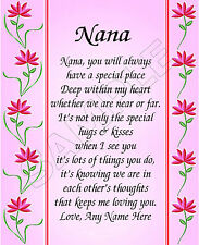 SPECIAL NANA PERSONALIZED PRINT POEM MEMORY BIRTHDAY MOTHER'S DAY GIFT