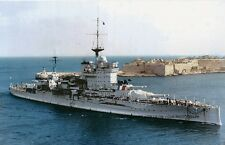 ROYAL NAVY QUEEN ELIZABETH CLASS BATTLESHIP HMS WARSPITE AT MALTA c 1935