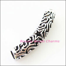 2Pcs Tibetan Silver Star Tube Spacer Beads Charms Connectors 39.5mm