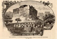 GRAVURE 1886 ENGRAVING SENEGAL DIAMOU VILLAGE DE DIBA