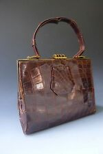 Vintage 1940s? real crocodile skin patent leather handbag