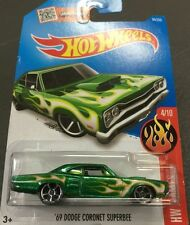 HOTWHEELS 4/10 HW FLAMES 69 DODGE CORONET SUPERBEE GREEN 94/250 HOT WHEELS
