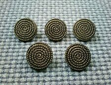 5 x Gold Tone Tarnished Metal Look Plastic Buttons 17mm Vintage Gothic Steampunk