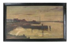 "Untitled Oil on Canvas (Ship Dock) by Walbert Wier Signed 21""x34"" Amazing Piece!"