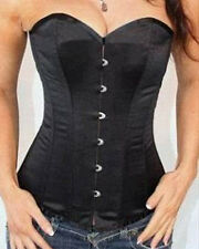 Sell-off Women Boned Overbust Corset G-string Bustiers Black White S-2XL