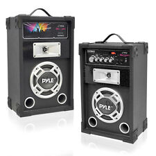 NEW Pyle PSUFM625 PAIR of 600W 2-Way Speakers USB/AUX Input & DJ Flashing Lights