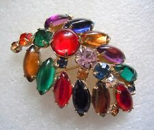 "Vintage Sign Weiss Jewel Tone Glass Cabochon Rhinestone Pin, 2 1/4"", Estate Lot"
