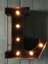 LED LIGHT CARNIVAL CIRCUS  RUST  METAL LETTER  L - WALL OR FREE STANDING 13INCH