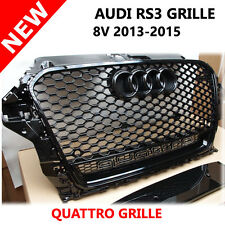 AUDI A3 S3 8V RS3 Double FRONT GRILLE DOUBLE QUATTRO BADGE BLACK 2013 - 2015