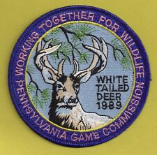 """Pa Pennsylvania Game Commission NEW 1989 WTFW Whitetail Deer 4"""" Cloth Patch"""