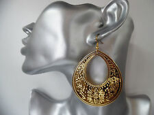 Gorgeous bright shiny gold tone patterned oval shape hoop - disc drop earrings