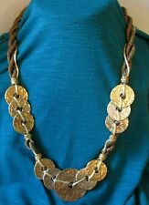 Vintage coin Necklace Chunky Modernist jewelry Brown Rope Hammer Goldtone Long