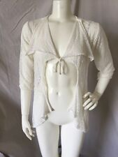 LeTarte Handmade White 100% Nylon Flowy Crochet Lace Cover-up Cardigan Top XS
