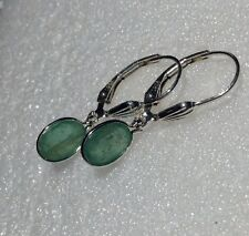 925 Sterling Silver Oval Cut Natural Emerald Dangle Lever Back Earrings 1.90CTW