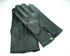 NEW MENS BLACK SOLID GENUINE LEATHER DRESS GLOVES WITH LINING LARGE