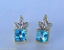 Square Blue Topaz Gemstone Post Earrings w/ Diamond Accent - 10k Yellow Gold
