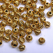 Tibetan Silver Gold Bronze Round Barrel Lantern, Spacer Beads 5MM CW276