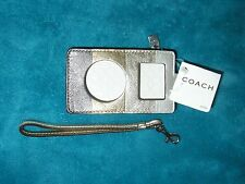 NWT Coach Multi-Stripe Leather Mini IPod/MP3 Gold Metallic Colors Case Wristlet