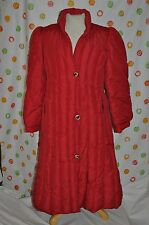 SAKS FIFTH AVENUE  WOMAN Medium RED  PUFFER down  WINTER COAT MIDDY length EUC